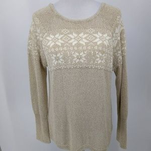 New Chaps Women Large Sweater Gold Ivory Snowflake